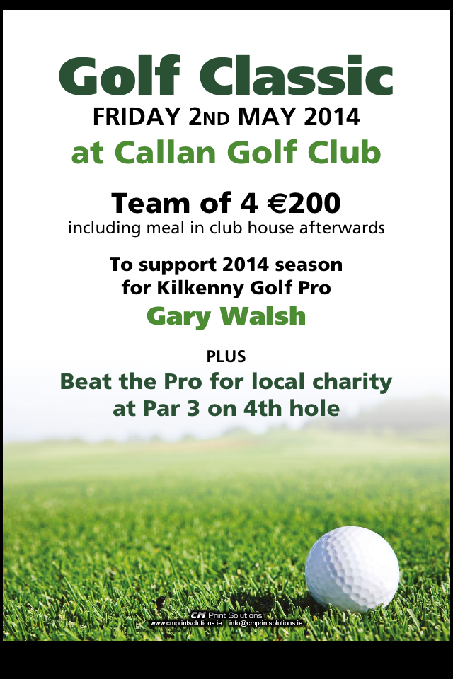Golf Classic to support Pro Gary Walsh (1/3)