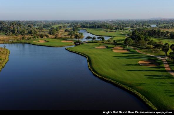Hole 15, par 4. December 10, 2011. Angkor Golf Resort, Kasekam Village, Sra Nga, Siem Reap, Cambodia. Mandatory credit: Richard Castka/Sportpixgolf.com